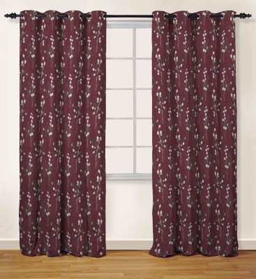 Oro Decor Polyester Cherry Floral Eyelet Door Curtain