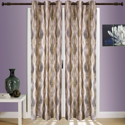 SWHF Cotton Green Striped Eyelet Window & Door Curtain