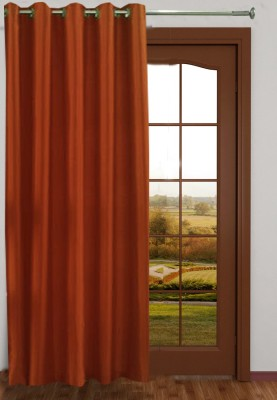 Homefab India Polyester Orange Floral Eyelet Long Door Curtain