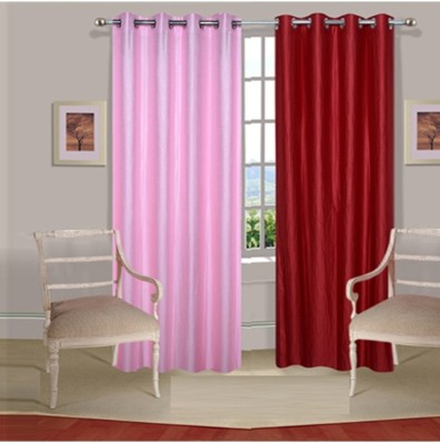 Fogg Polyester Pink, Red Printed Eyelet Door Curtain
