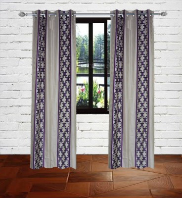 Gaurav Curtains Polyester Purple Floral Eyelet Window Curtain
