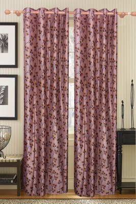 Furnishing Kingdom Polyester Brown Floral Eyelet Door Curtain