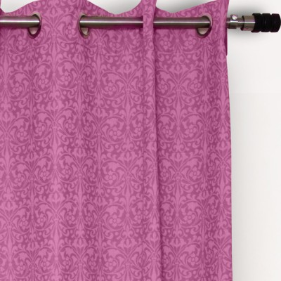 House This Cotton Pink Motif Eyelet Door Curtain