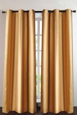 Deco Essential Polyester Dark Gold Plain Eyelet Door Curtain