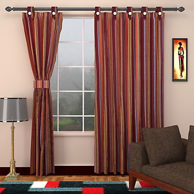 SEVEN STARS Cotton Maroon Striped Eyelet Window Curtain