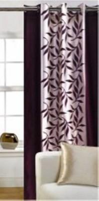 FriendClub Polyester Brown Printed Eyelet Door Curtain