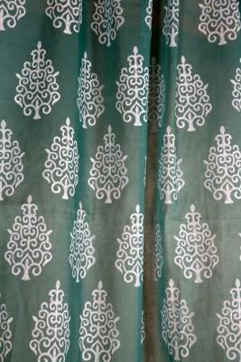 Ocean Homestore Cotton Leight green Floral Curtain Door Curtain