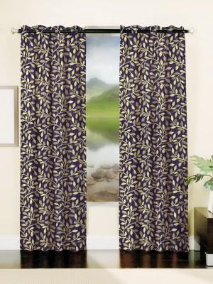 Mahamantra Polyester Dark Blue Solid Eyelet Window Curtain