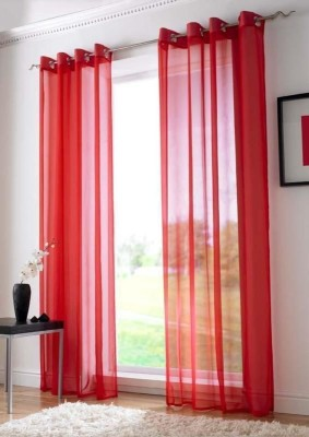 Desirica Polyester Red Solid Eyelet Long Door Curtain