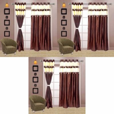 Go Decore Net Brown Self Design Ring Rod Door Curtain