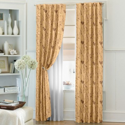 Dreamscape Blends Yellow Abstract Eyelet Door Curtain