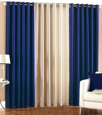 White Wave Polyester Blue Solid Eyelet Long Door Curtain