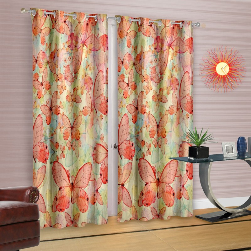Cortina Polyester Orange Printed Eyelet Long Door Curtain(270 cm in Height, Single Curtain)