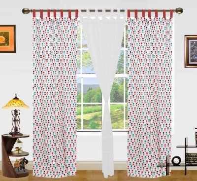 Dekor World Cotton Red/White Printed Tab Top Long Door Curtain
