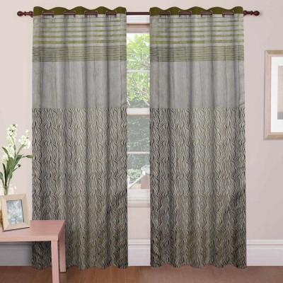 Mdf Curtains Jacquard Green Geometric Eyelet Long Door Curtain