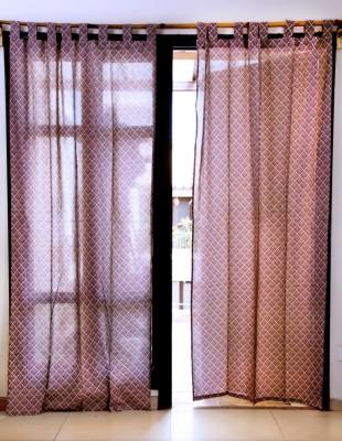 Ocean Homestore Cotton Pink Printed Eyelet Window Curtain