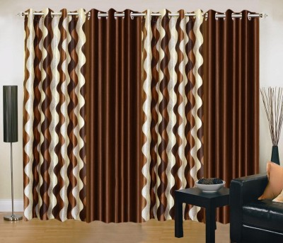 New Trends Polyester Brown Printed Eyelet Window Curtain