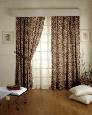Dreamscape Blends Brown Printed Eyelet Door Curtain