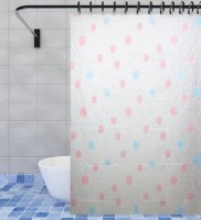 Home Candy PVC Multicolor Floral Ring Rod Shower Curtain(180 cm in Height, Single Curtain)