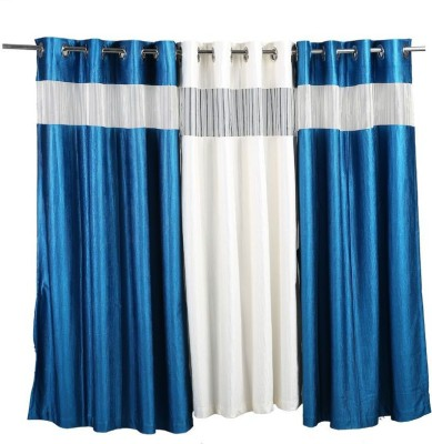 Store17 Polyester Blue & White Self Design Ring Rod Window Curtain