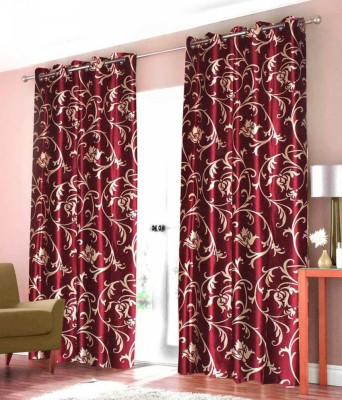 Click Shoppe Polyester Maroon Floral Eyelet Window Curtain