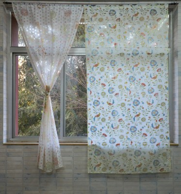 Pas Home Polycotton Blue Abstract Rod pocket Window Curtain