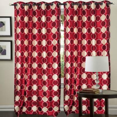 Hargunz Polyester Maroon Solid Eyelet Long Door Curtain