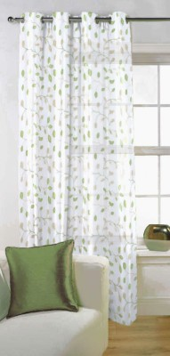 Fabutex Tissue Green Embroidered Eyelet Door Curtain