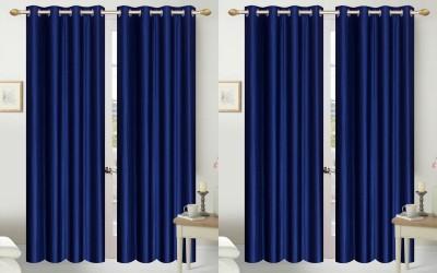 Shopgalore Polyester Blue Plain Eyelet Door Curtain