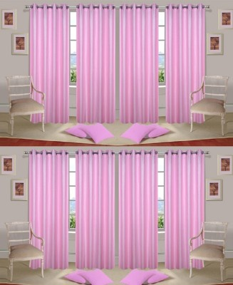 Galaxy Decorations Polyester Babypink Plain Eyelet Door Curtain