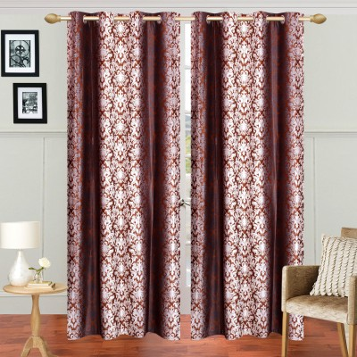 Handy Texty Polyester Brown Printed Eyelet Window Curtain
