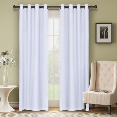 Soumya Polycotton White Plain Eyelet Window Curtain