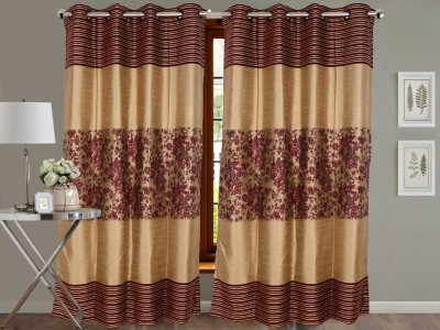 Vivace Homes Jacquard, Polyester Purple Floral Eyelet Door Curtain