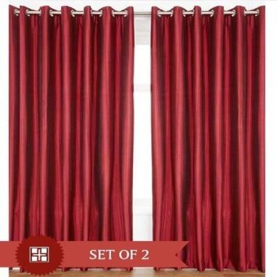 Harry Tex Polyester Maroon Solid Tab Top Door Curtain
