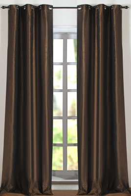 Deco Window Polyester Brown Solid Eyelet Window Curtain
