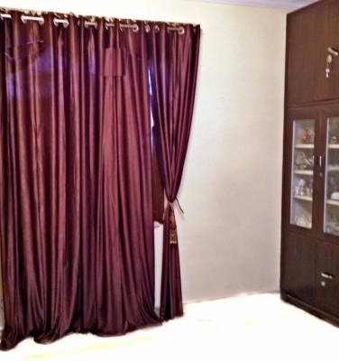 SHC Polyester Brown Solid Eyelet Door Curtain