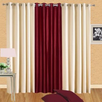 Excel Bazaar Polycotton Cream-1maroon Plain Eyelet Door Curtain