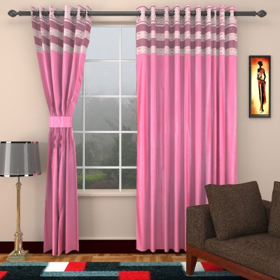 kart4smart Silk Pink Plain Curtain Window & Door Curtain