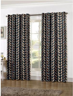 Zephyrtex Polyester Blue Floral Eyelet Door Curtain