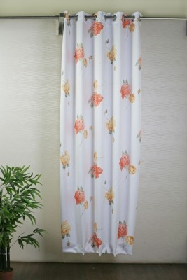 Bloom Polyester White, Red Printed Eyelet Door Curtain