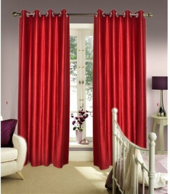Home And Craft Polyester Red Floral Eyelet Door Curtain