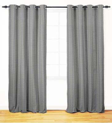 Oro Decor Polyester Ash Striped Eyelet Window Curtain