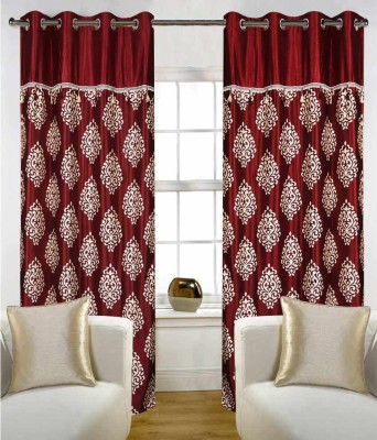 STC Polyester Maroon Motif Eyelet Door Curtain