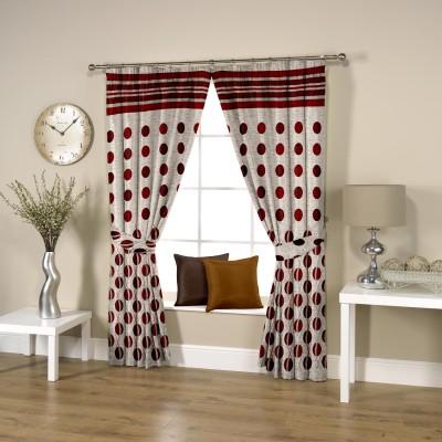 Threadmix Polyester Red Polka Curtain Window Curtain