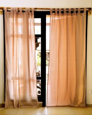 Ocean Homestore Cotton Pink Self Design Eyelet Window Curtain