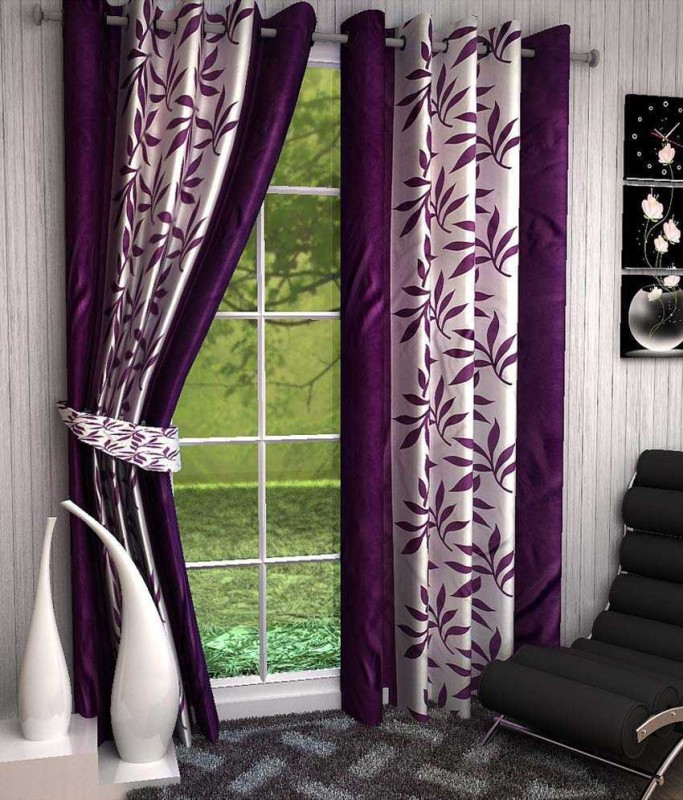 Optimistic Home Furnishing Polyester Purple Floral Eyelet Door Curtain(210 cm...