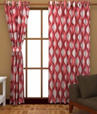 Shiv Shankar Handloom Polyester Maroon Abstract Eyelet Door Curtain