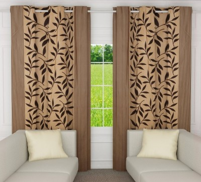 India Furnish Polyester Chocolate Brown Floral Eyelet Door Curtain