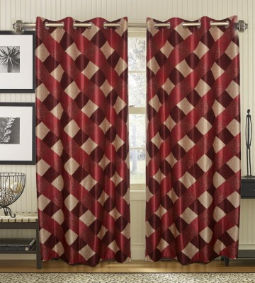JBG Home Store Polyester Maroon Striped Eyelet Door Curtain