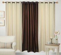 hdecore Polyester Cream, Brown Plain Eyelet Door Curtain(215 cm in Height, Pack of 3)